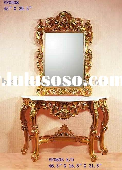 Gold color classical console table with mirror,console sets,antique home furniture