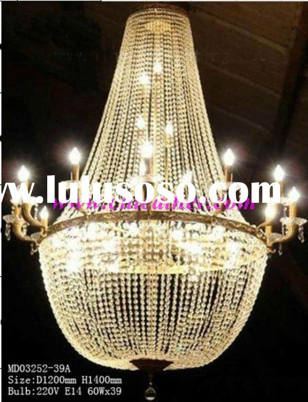 Golden decorative hanging crystal pendant light