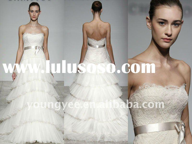 High quality organza feather lace top designer wedding dresses(WD17004)