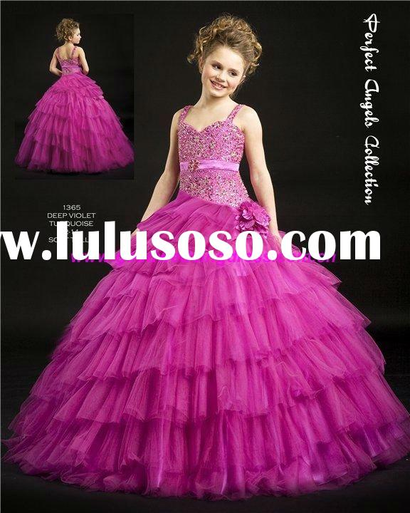 Hot 2011 New Design Unique Beaded Ball Gown Princess Dress Tulle Flower Girl Dress