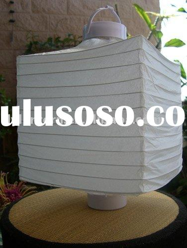 LED battery operated 8 inch square white paper lantern