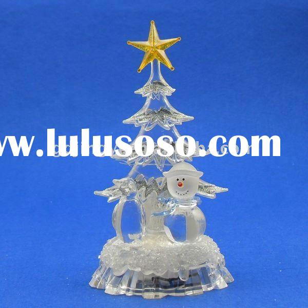 LED color changing acrylic star Christmas tree topper with snowman and penguin