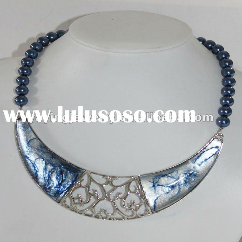 Last design fashion alloy necklace jewelry with pearl beas
