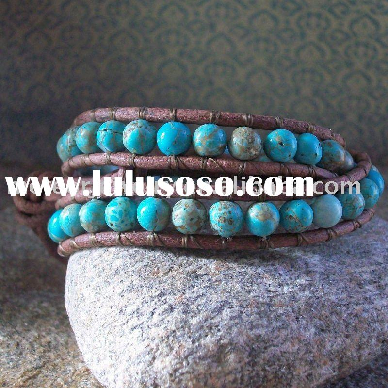 Leather Beaded Wrap Bracelet, Turquoise Wrap Bracelet, double wrap bracelet, brown leather bracelet,