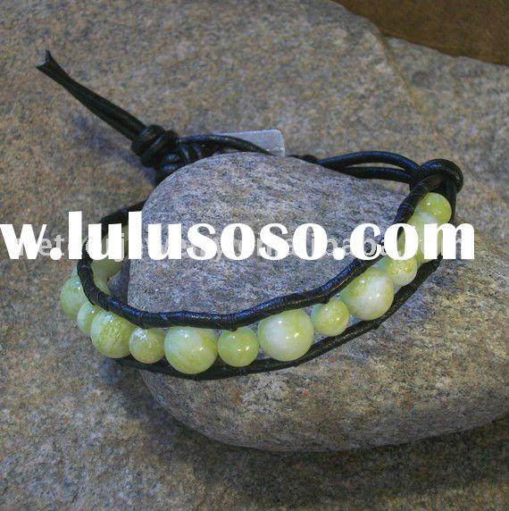 Lemon Jasper Wrist Wrap, leather beaded wrap bracelet, single wrap bracelet, lemon jasper bracelet
