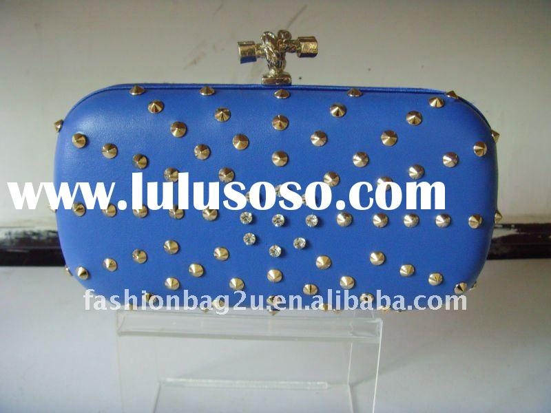 Low MOQ hard case clutch bags with fashion spikes evening bag/box clutch blue