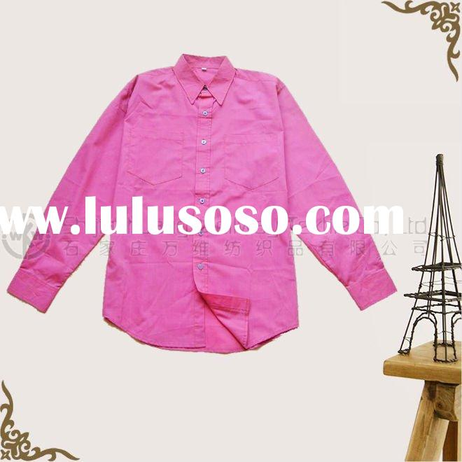 Men's Long sleeve T/C Fashion Pink Solid Shirt