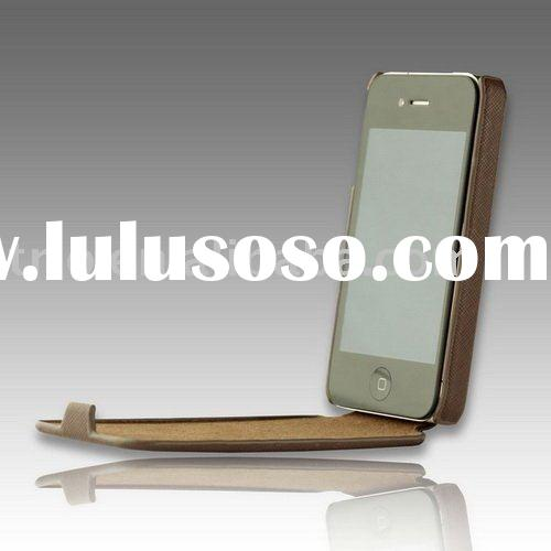 PU leather flip hard cell phone case for iPhone 4 case