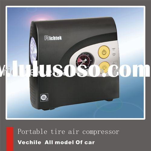 Portable auto air compressor (RCP-A3A, DC12V, mechanical gauge, LED light and safety module)