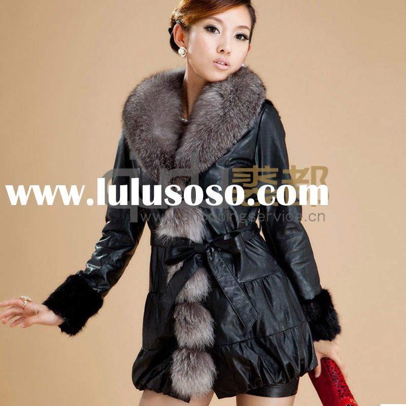 QD10895 Sheep Skin Coat with Fox Fur and Mink Fur Trim