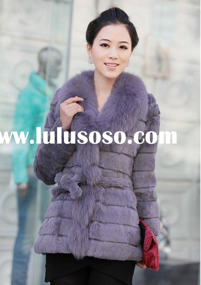 QD-NYL-04 rabbit fur jacket with fox fur collar