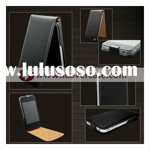 Real/Genuine Leather Flip Cover,Leather Case for iPhone 4 4G with black color