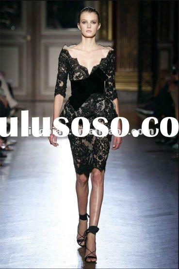 SC1515 Elegant Knee length long sleeve lace evening gown by zuhair murad
