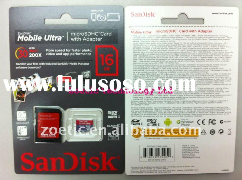 Sandisk 16GB Mobile Ultra Micro SDHC memory cards Class 6 UHS-1 with Adapter, micro sd card,Ultra mi