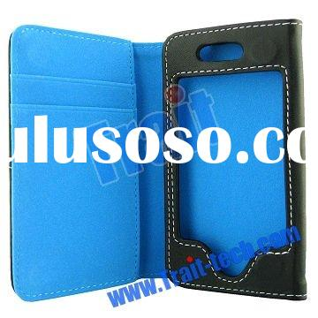 Side Opening Wallet Style Leather Case for iPhone 4 with Credit Card Slots, Blue