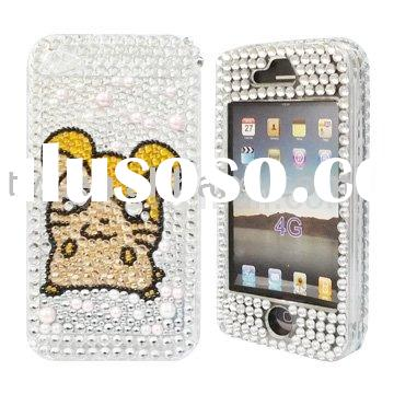 Simple Glittering Cat Diamond Front and Back Cover Case for iPhone 4G 4th