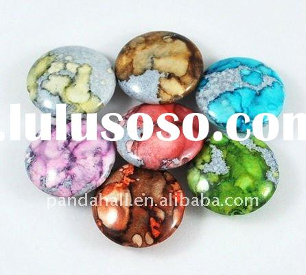 Spray Painted Acrylic Beads Wholesale, Plastic Beads, Flat Round, Multicolor(ACRP-A035-17)