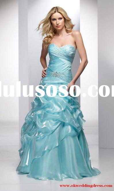 Strapless light blue organza Ball gown backless 2011 prom dress