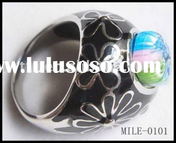 Teardrop,Fashion Ring,Jewelry,Glass Fit Stainless Steel,Mix Glass Millefiori Ring