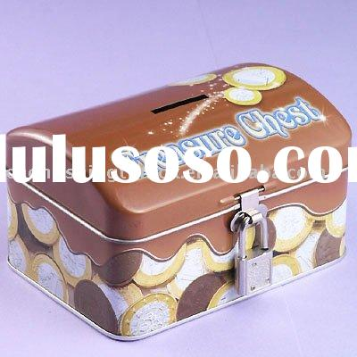 Tin money box with lock