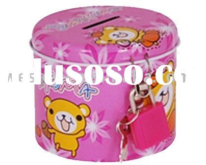 Tin money box with lock and key, coin can, saving box