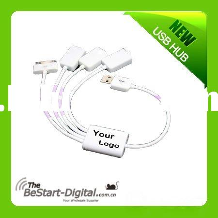 USB 2.0 3 Port HUB & USB Data Sync Charger Cable For iPhone