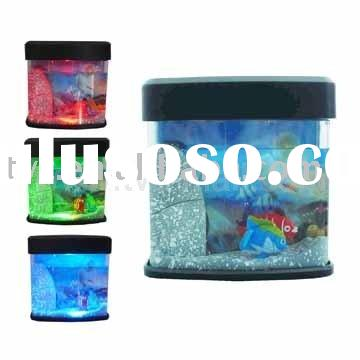 USB/Battery Powered Mini Toy Aquarium With Two fish and Led Light