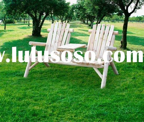 Wooden Outdoor Leisure Chair/Outdoor Cedar Log Bench/Wooden bench/love seat/Wooden Double Log Table