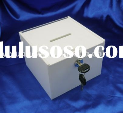 acrylic donation box with lock and key
