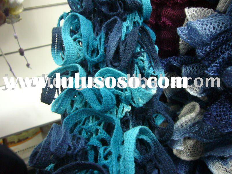 acrylic fancy fish net yarn for knitting scarf, etc