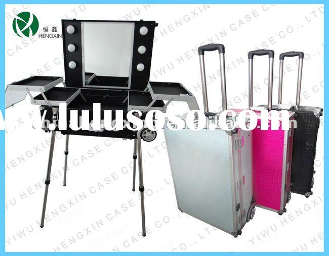 aluminum trolley makeup case with lights,makeup case with light with mirror