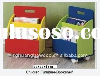 colorful wooden kids bookshelf
