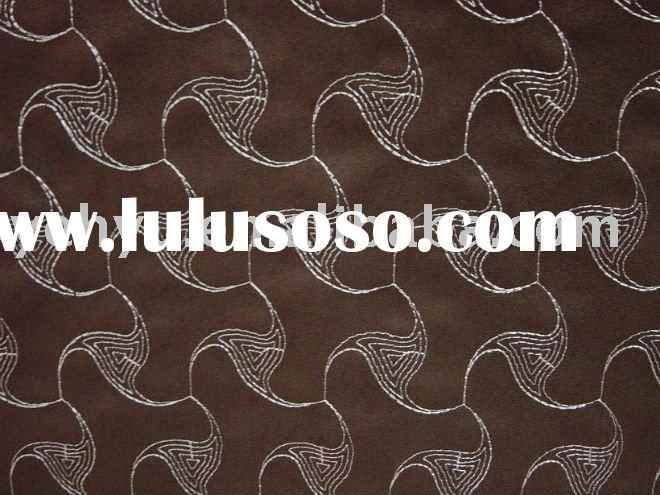 embroidery leather fabric decorated by continuous triangle geometry embroidery designs
