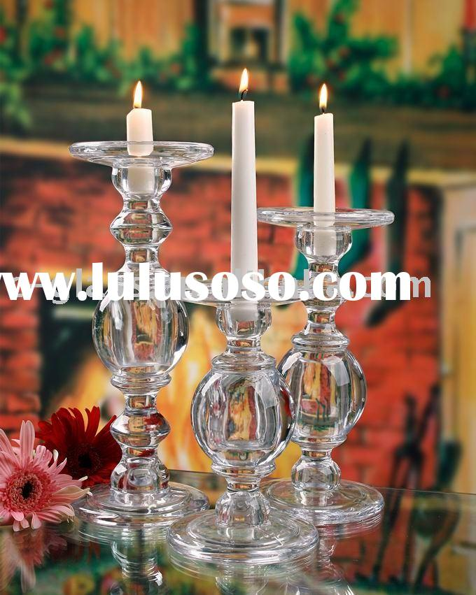 hand pressed glass taper candle holders