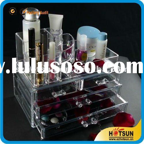 hot sale clear acrylic makeup organizer with drawer