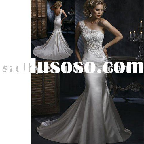 hot-sale high quality one-shouder bridal wear with long tailing TY8072