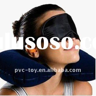 inflatable flocked pillow with eye mask & ear plug for rest in travel/journey