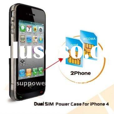 iphone dual sim standby adapter ,backup battery case for iphone4 with Dual SIM