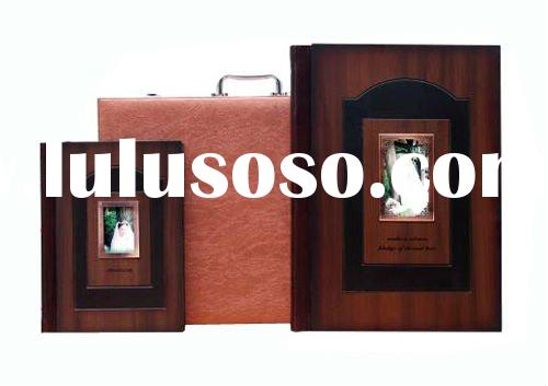 luxury wooden cover wedding photo album box set with leather suitcase-W03