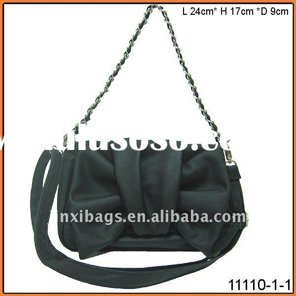 made in China Yiwu metal chain with PU leather woman fashion handbag with bow shape