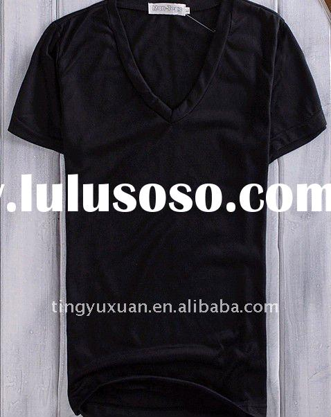 men fashion high quality 100%cotton V neck plain black t shirt