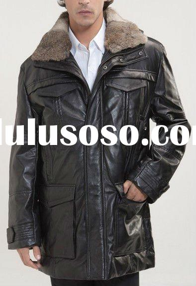men's hooded leather jacket with rabbit fur collar