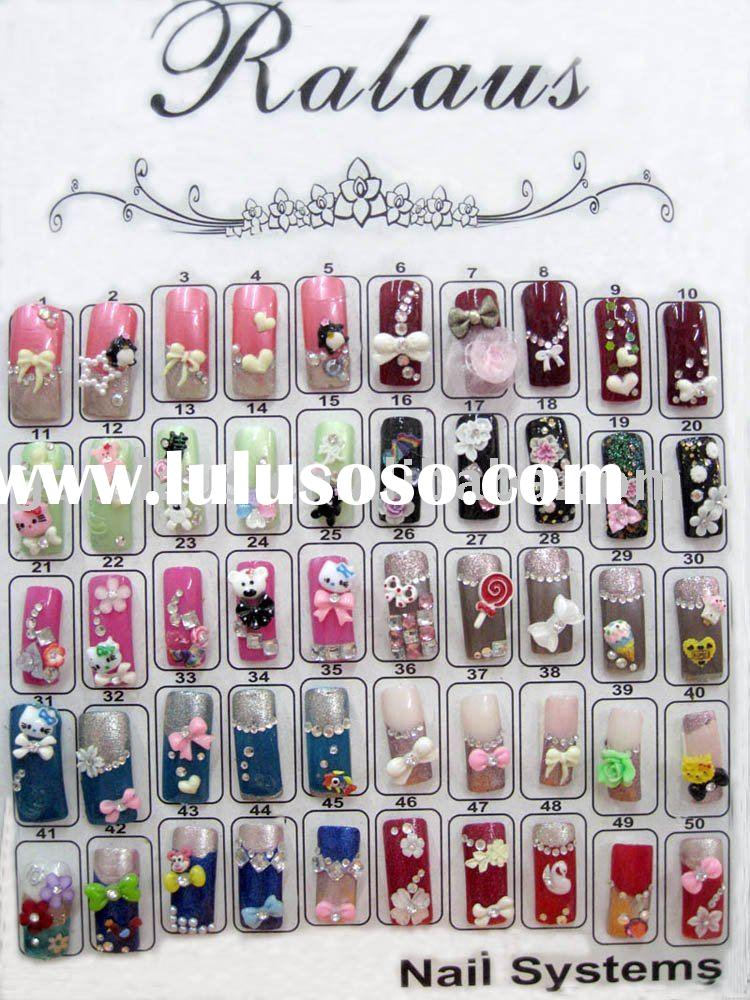 nail art decoration design show ,3D small nail decoration