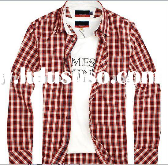 slim fit plaids long sleeve formal fashion shirts for men