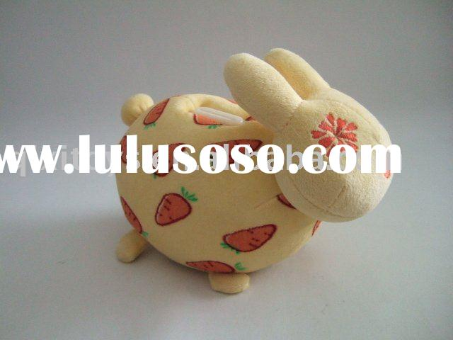 stuffed plush rabbit money saving box,animal bunny coin bank