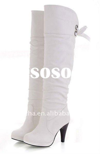 white leather women high heel boots
