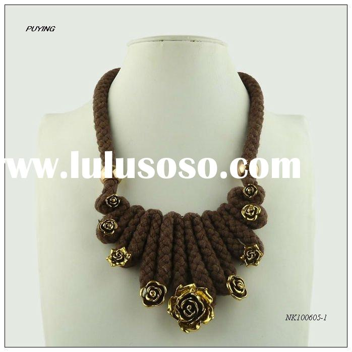 2011 Winter Sea New Arrivals Fashion Cotton Zinc Alloy Costume Necklace, Fine Accessory
