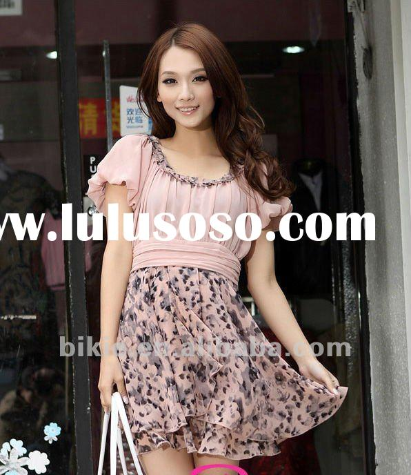 2012 Newest style fashion elegant ruffle chiffon lady/women dress