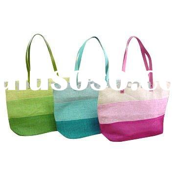2012 Rainbow paper straw beach bag with matchable handle
