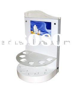 Acrylic cosmetic display kiosk with LCD media player integrated for retail store advertising